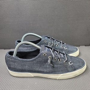 Womens Sz 9 Denim Sperry Top Sider Canvas Sneakers